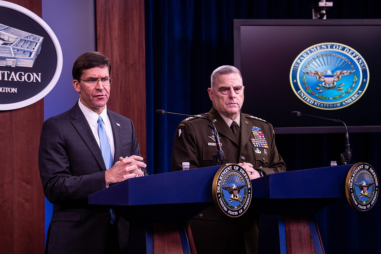 Secretary of Defense Mark Esper and Chairman of the Joint Chiefs of Staff Mark Milley (Secretary of Defense via Wikimedia Commons)