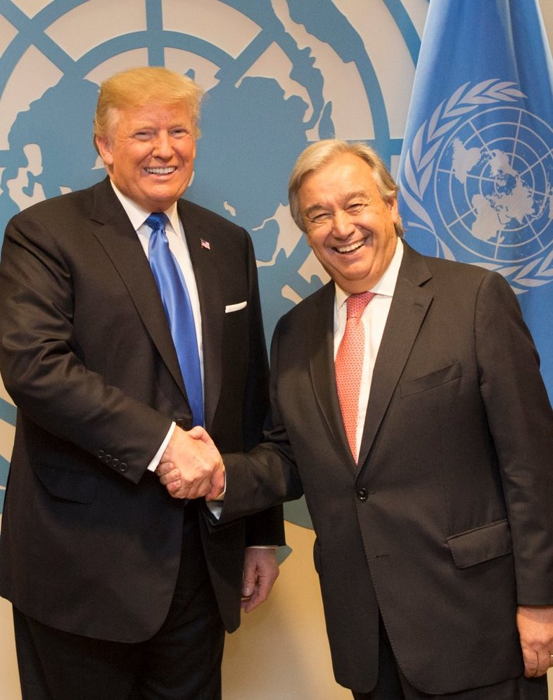 President Donald J. Trump and United Nations Secretary-General António Guterres at the United Nations General Assembly (Official White House Photo by Shealah Craighead)